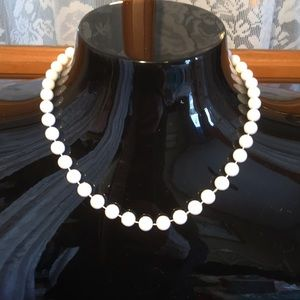 """Beaded White 16"""" Vintage Necklace"""